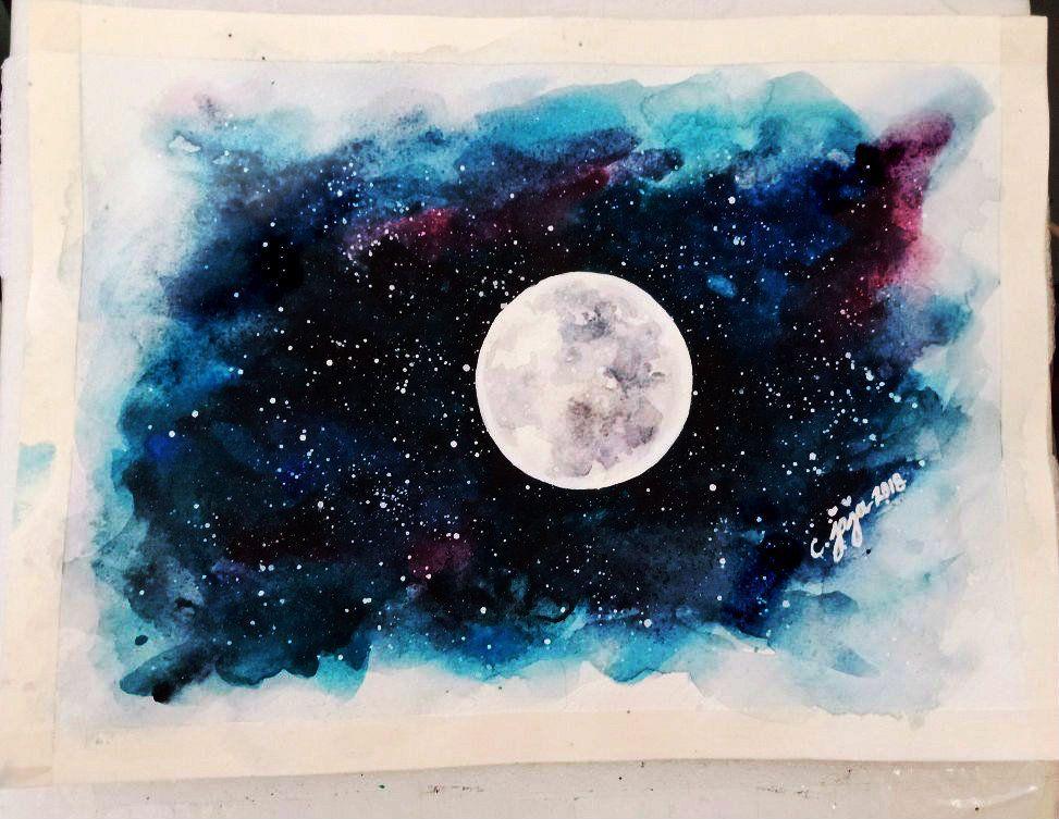 Easy Full Moon Watercolor Painting Tutor Craftyjaja S Column