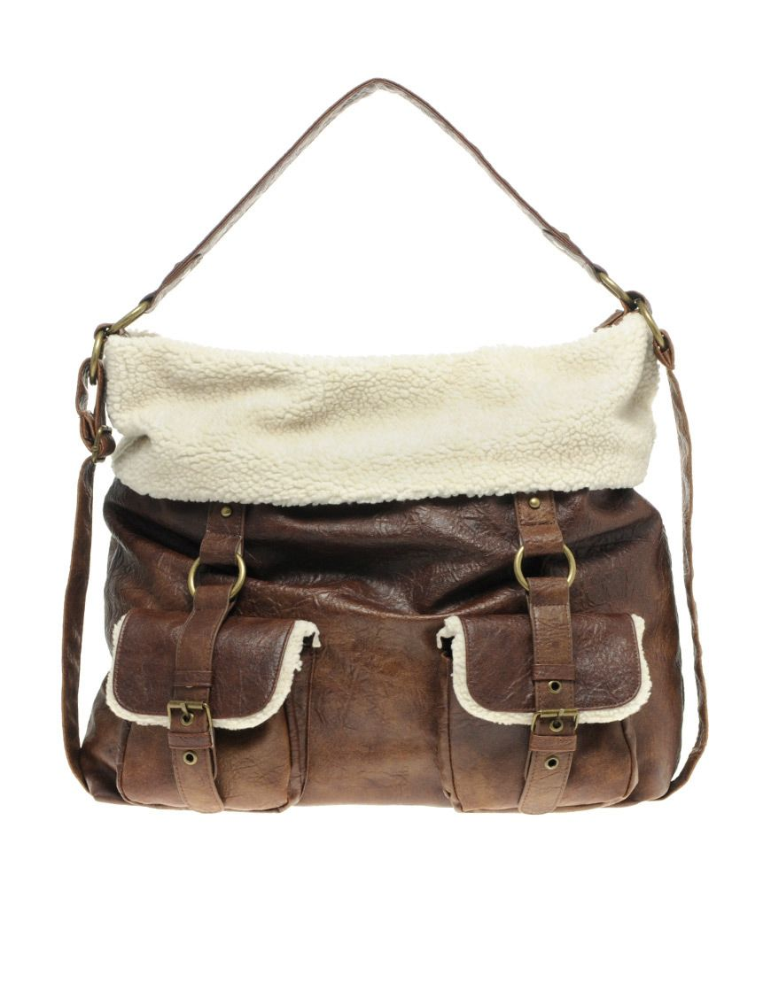 Shearling Top Slouch Bag