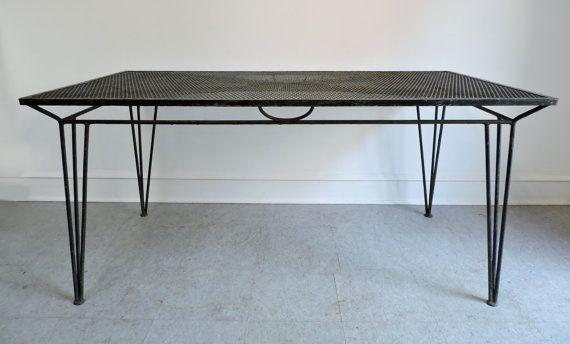 Mid Century Modern Salterini Large Rectangular Wrought Iron Table