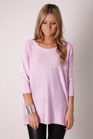 cherish light weight 3/4 knit jumper - lilac
