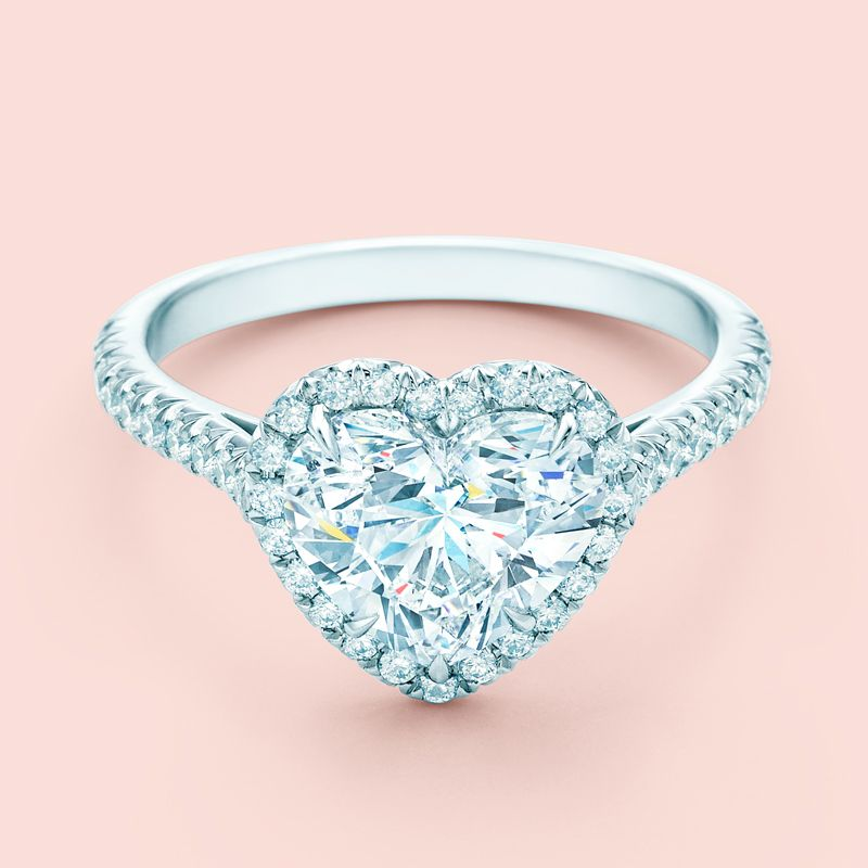 Tiffany Soleste Heart Shape Halo Engagement Ring With Diamond Band