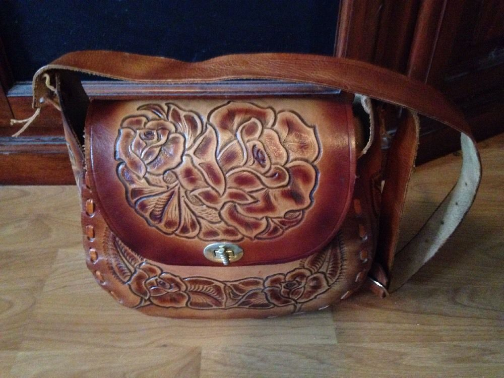Genuine Leather Hand Tooled Shoulder Purse Made In Mexico #Handmade #ShoulderBag