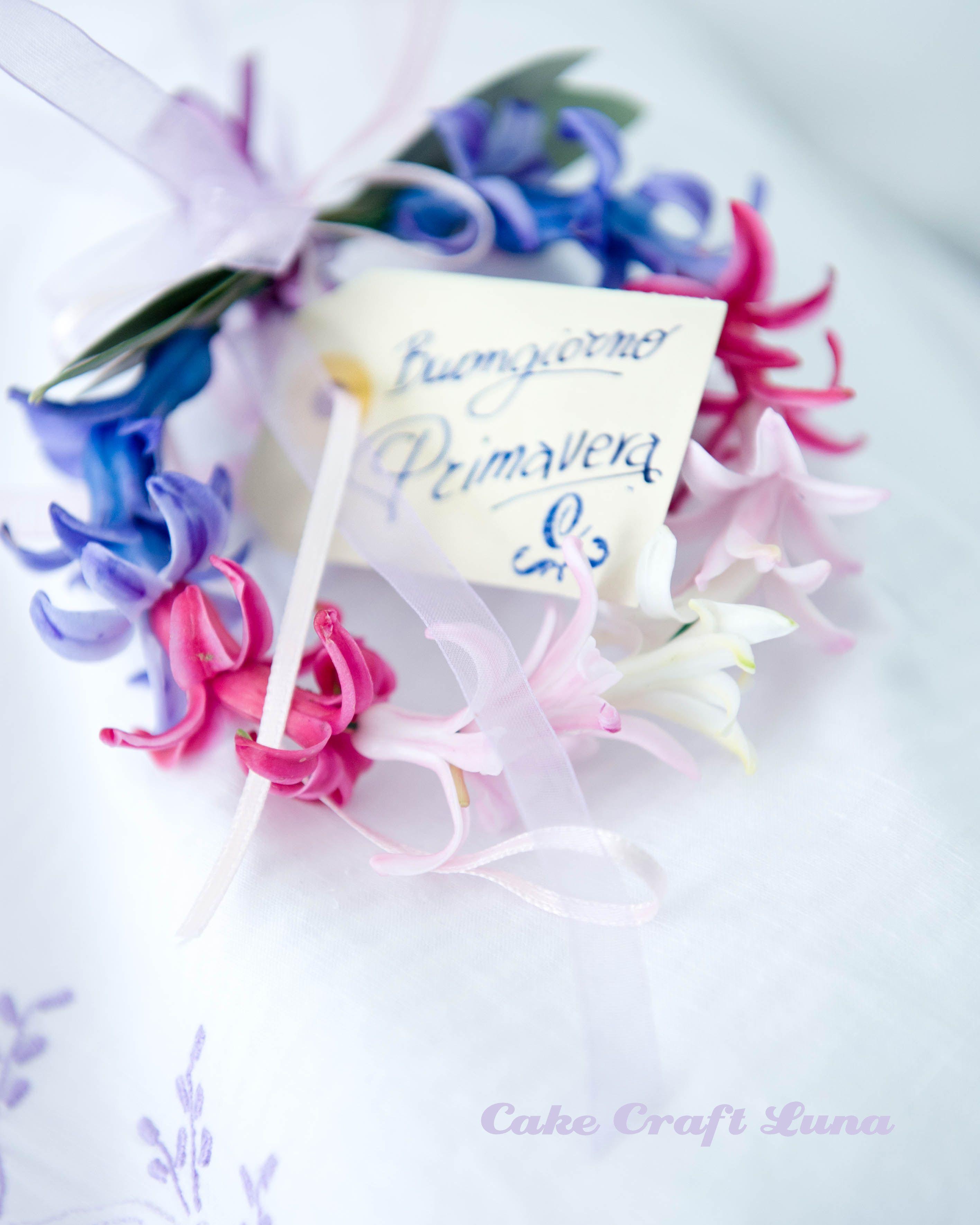 Photo of coroncina, ghirlanda, fiori, giacinti, bocci, primavera, cartoncino, fiocchi