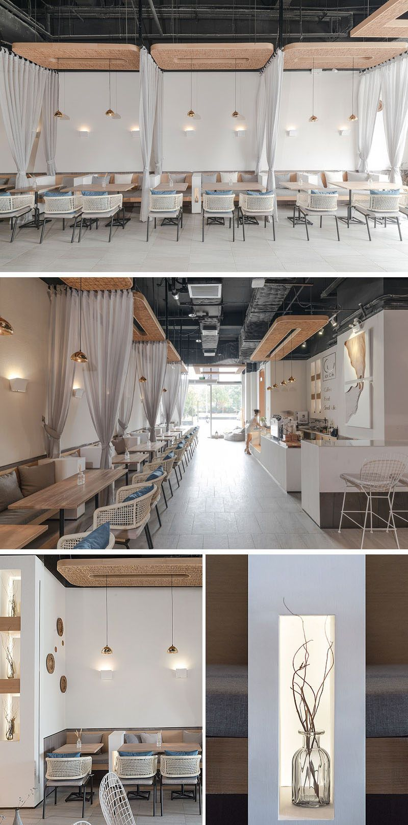 This modern coffee shop has small white partitions and ...