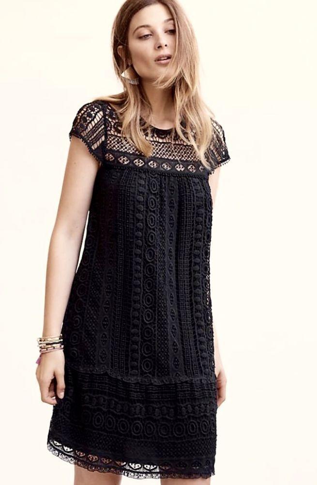 6ca5ed411740c NWT Anthropologie Maeve black Crochet Lace Ruffle Swing Shift Dress Cap  Sleeve M #Maeve #swingdressswingyshiftdress #LittleBlackDress