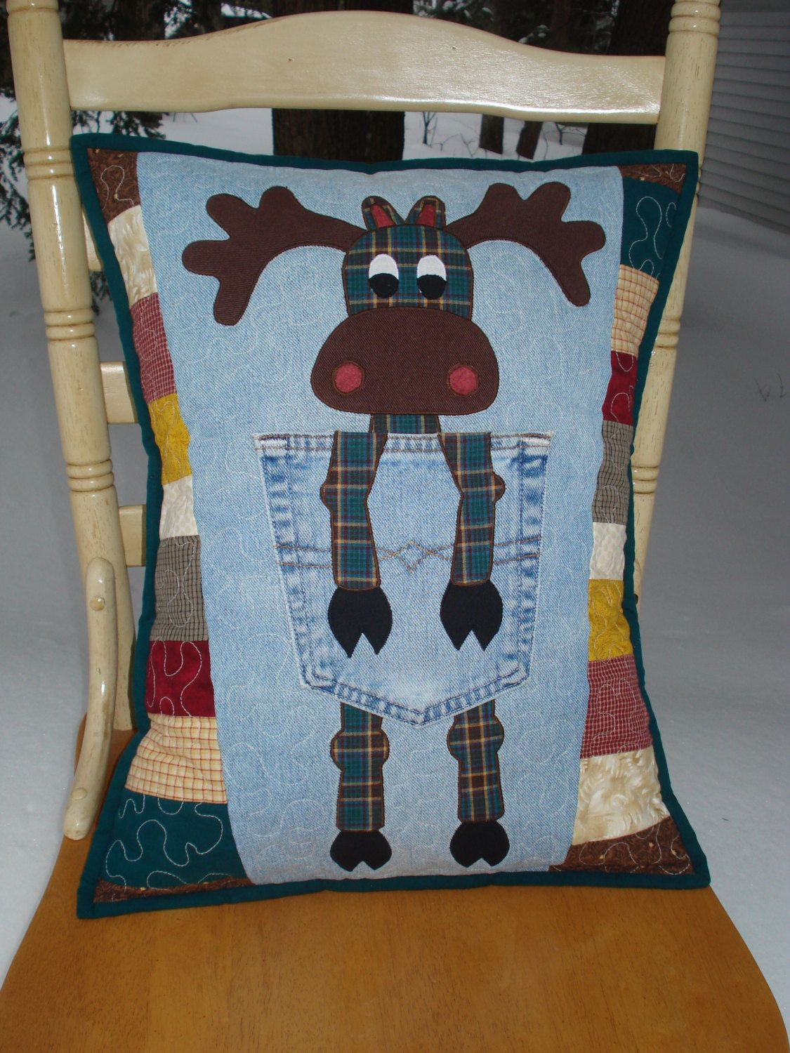 "Pattern for ""Northern Moose"" Quilted Pillow made with recycled upcycled denim jeans. $10.00, via Etsy. by Back Pocket Design"