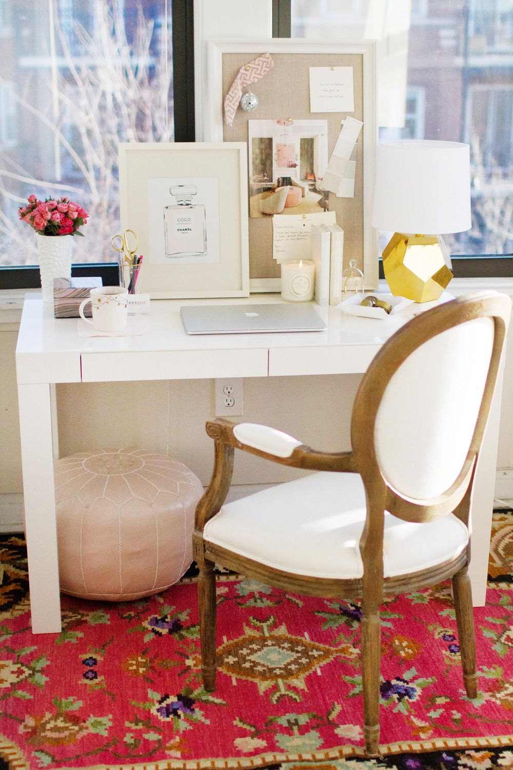 How to Style a West Elm Parsons Desk // white lacquer // pink // gold // white // feminine // elegant // rug from @Laura Jayson Mcfarlane and Georgia // @Michelle Flynn Hood-Denman Hardware chair // home office space // photography by Danielle Moss // styling by Alaina Kaczmarski