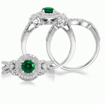 Masquerade - Emerald Engagement Ring in 14K White Gold