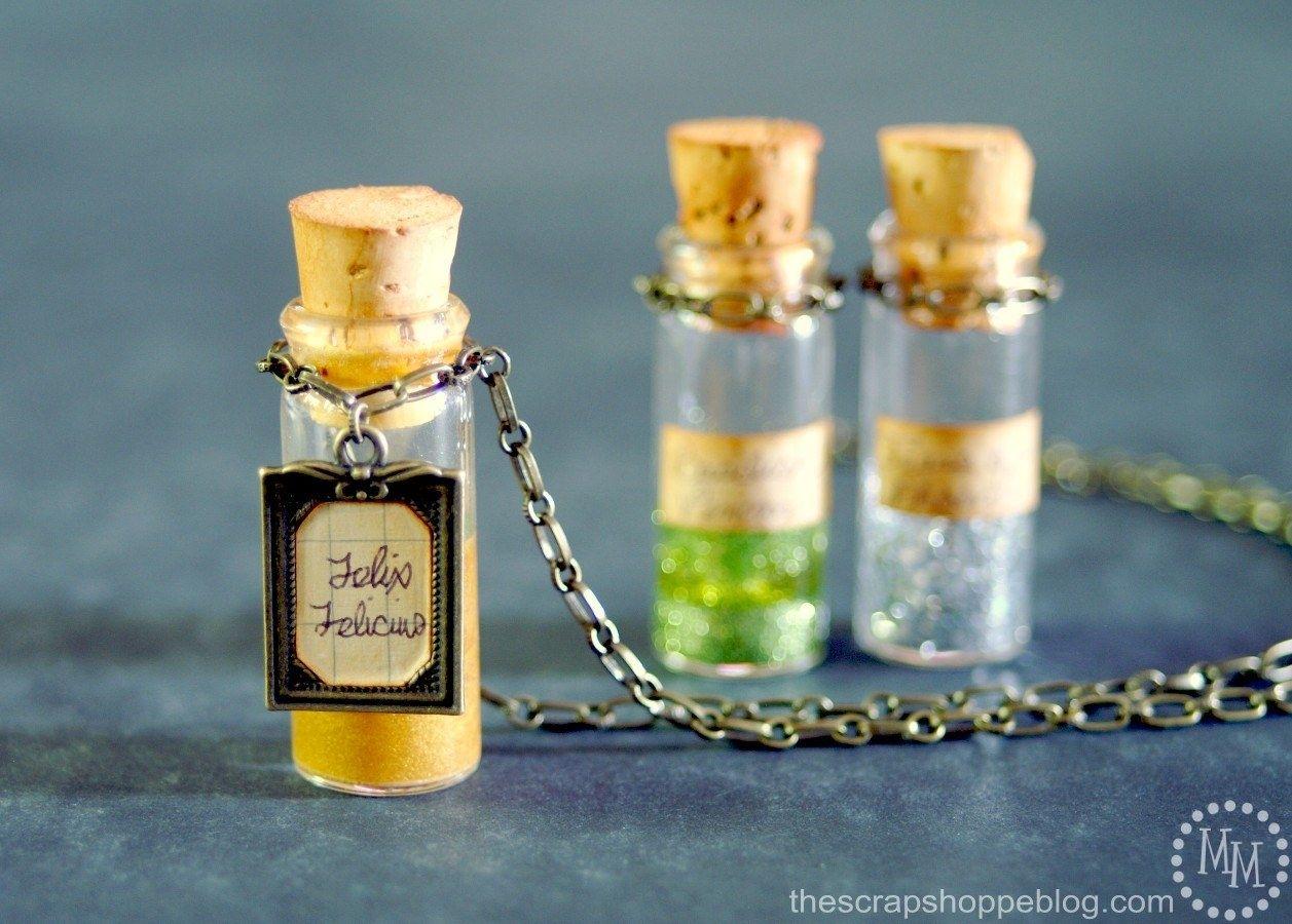 Wizard Potions Felix Felicis Bottle Necklace Gold Silver Pendant Hogwarts Cos