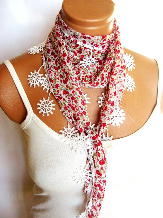 Red White Green Scarf Turkish Fabric Fringed by WomanStyleStore, $14.00