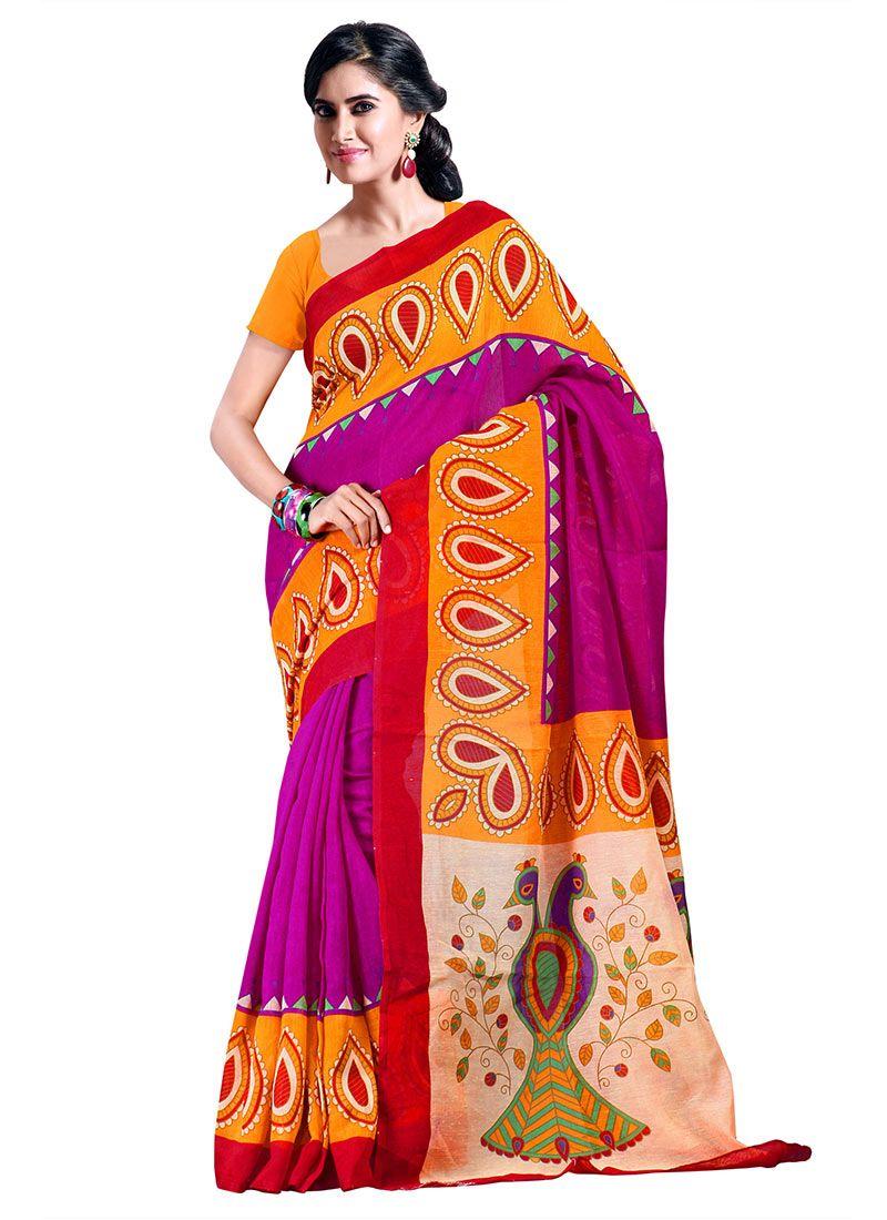 Galvanizing Look #Printed #Silk #Saree
