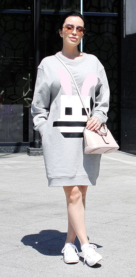 My style | McQ Alexander McQueen Electro Bunny sweater dress, Converse sneakers, LV ALMA handbag - http://www.bagorgie.com/index.php?id=397