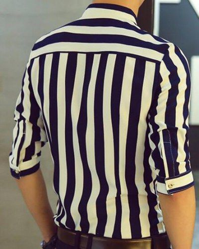 ff368cd2b9 Black and white striped shirt for men half sleeve button down shirts ...
