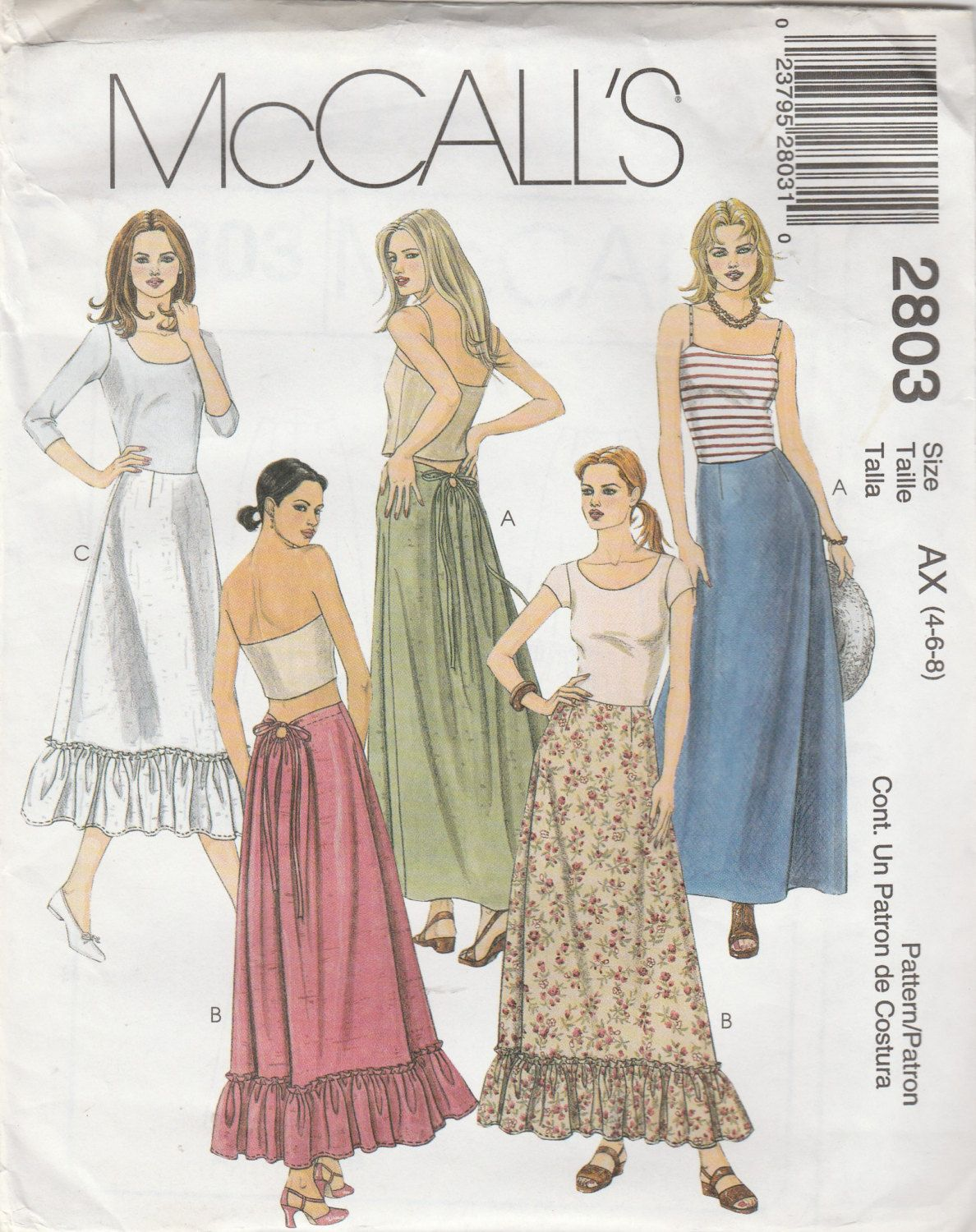 McCall\'s 2803 Size 4-6-8 Misses\' Skirt In Two Lengths Sewing Pattern ...