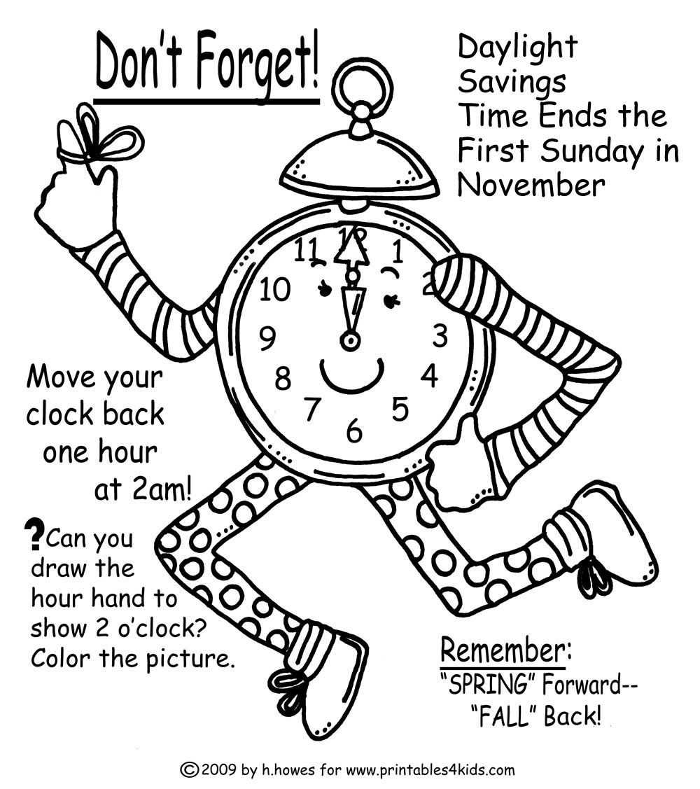 Fall Time Change Reminder Coloring Page   Fall back time change [ 1127 x 1000 Pixel ]