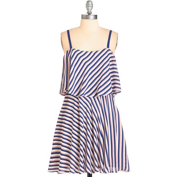 Nautical Short Length Spaghetti Straps Mini Instant Energy Dress by... (275 ARS) ❤ liked on Polyvore featuring dresses, apparel, fashion dress, multi, short mini dress, a line dress, nautical striped dresses, short spaghetti strap dress and short slip