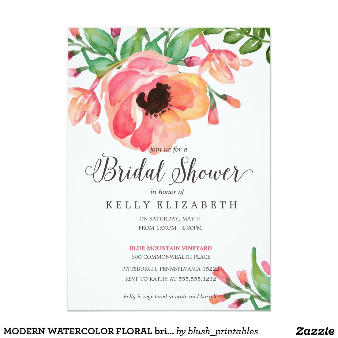 MODERN WATERCOLOR FLORAL bridal shower invitation done in beautiful ...