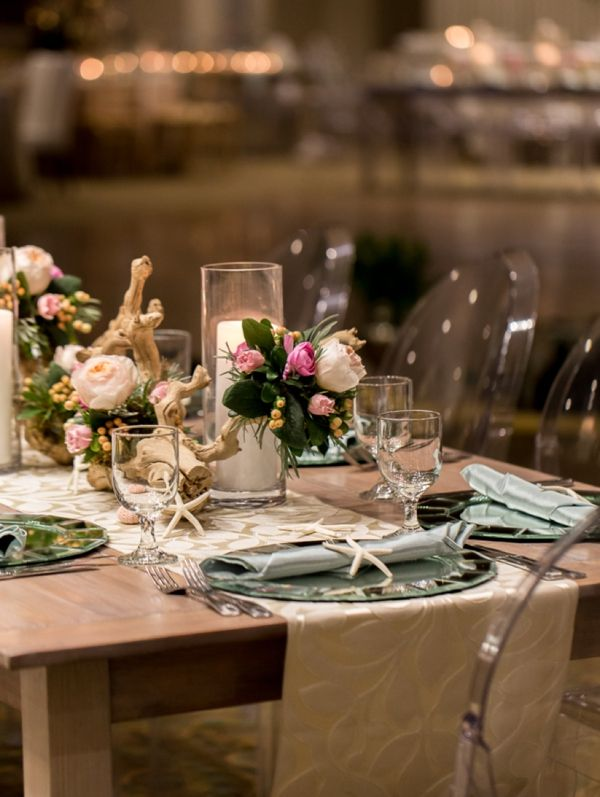 Check out the gorgeous the not wedding cape cod cod for Driftwood table centerpieces