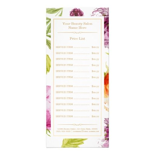 Classy Floral Decor Beauty Salon Spa Price List Rack Card  Price