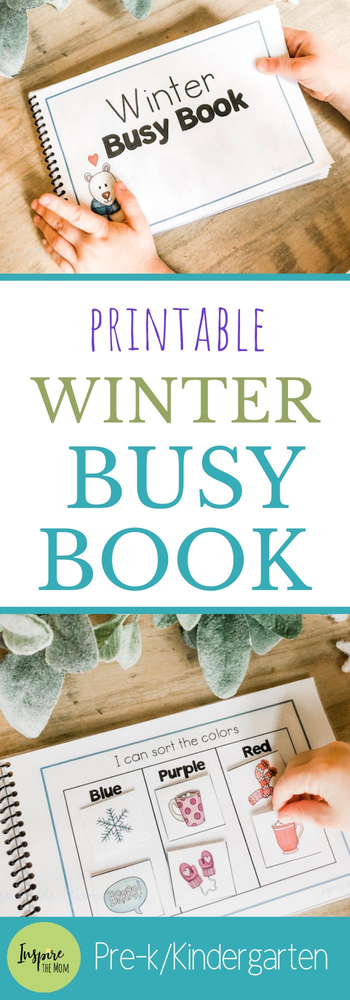 Printable Winter Busy Book  Inspire the Mom Fun Printable Winter Busy Book for preschool or kindergarten