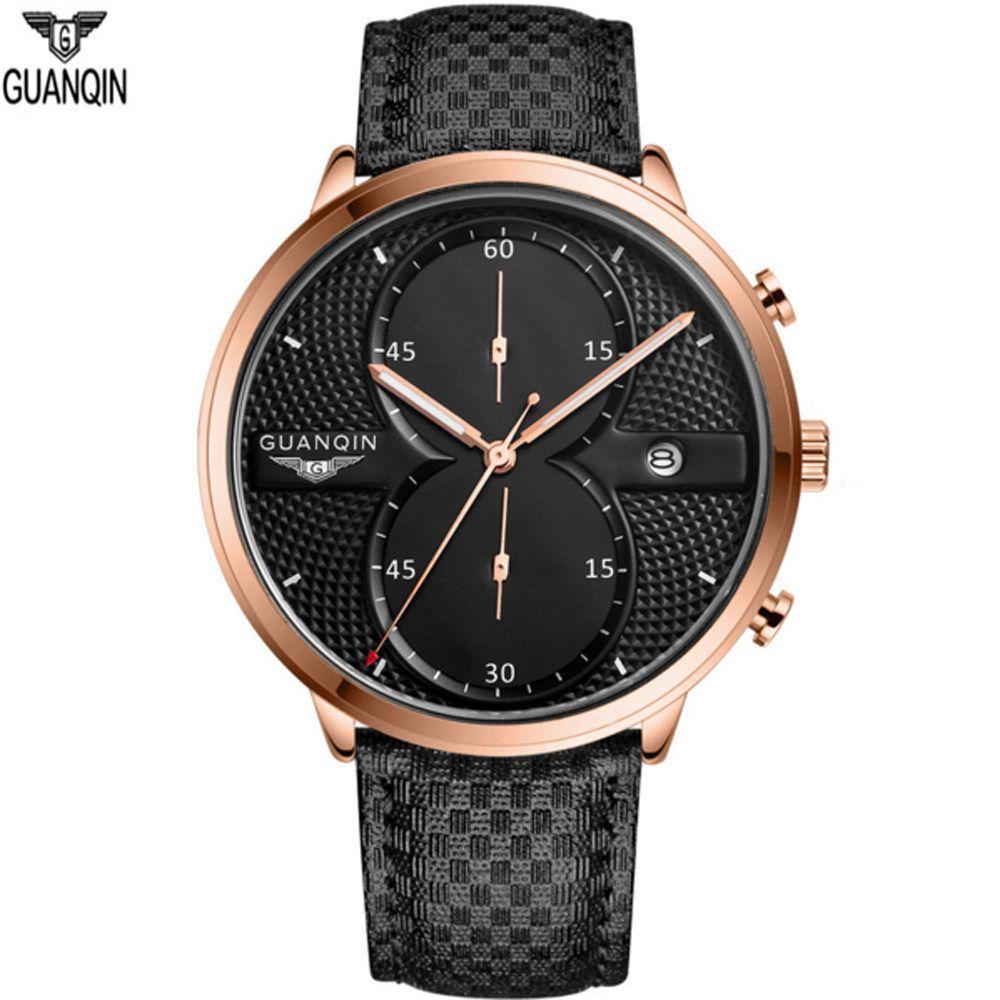 Marca de lujo GUANQIN cuarzo gran diseñador Dial relojes de pulsera hombres deportes impermeable reloj correa de cuero horas reloj para hombre