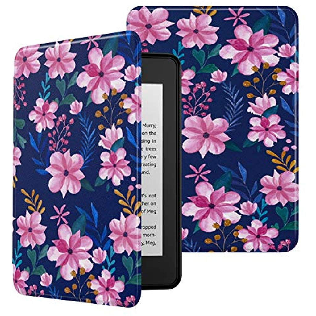 MoKo Case Fits Kindle Paperwhite 10th Generation 2018 Releases Premium Ultra Lightweight Shell Cover with Auto Wake/Sleep for Amazon Kindle Paperwhite 2018 E-Reader - Blue Pink Flower #Computer-Zubehör #eBook-Reader--Zubehör #Hüllen