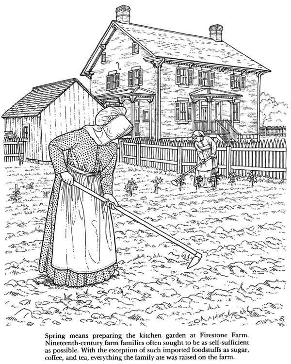 Old-Fashioned Farm Life Coloring Book: Nineteenth Century Activities ...
