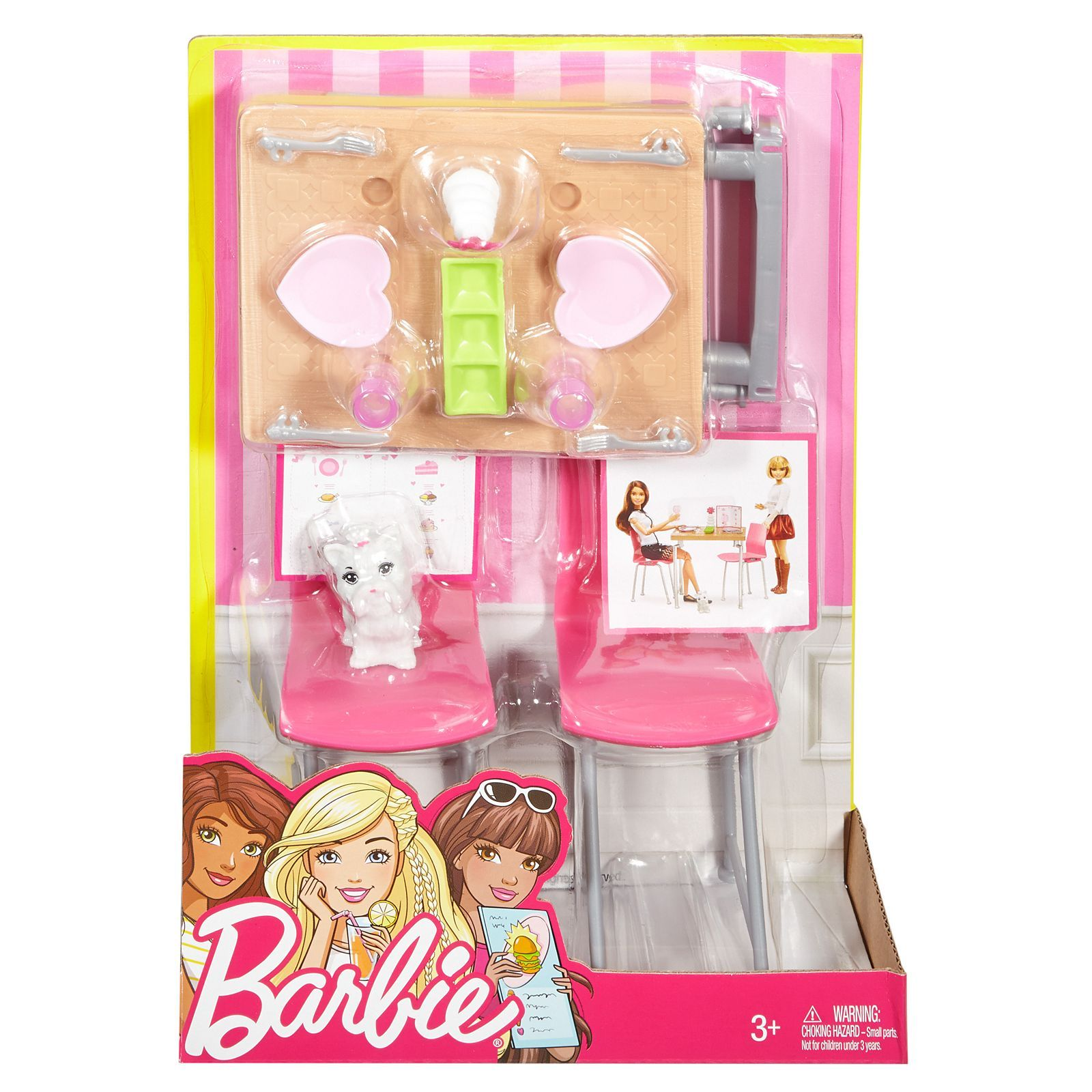 Barbie Dining Set Kitten Dvx45 Barbie Barbie Toys Barbie Doll Accessories Barbie