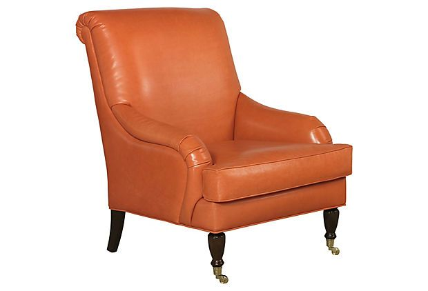 Best Oxford Chair Papaya On Onekingslane Com By Elite Leather 400 x 300