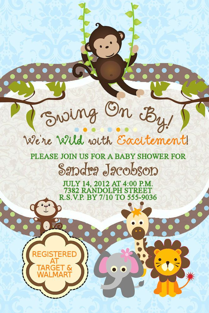 Jungle Baby Shower Invitations Swinging Monkey Giraffe Lion Elephant ...