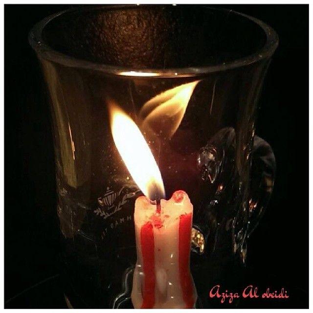 انعكاس جميل للهب الشمعة من تصوير عزيزة شكرا على المشاركة نار مشروع52صورة مشروع52 Fire 2014in52 Project52 Http Candle Jars Candle Holders Candles