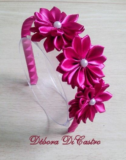 70b01431f Tiara pink | Tiaras infantis | Headbands, Hair band e Flowers