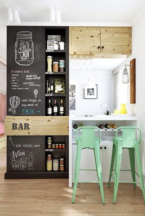 Great This Is An Eclectic Small Bar Area With Chalkboard Cabinetry Mixed With  Unfinished Pine And Mint