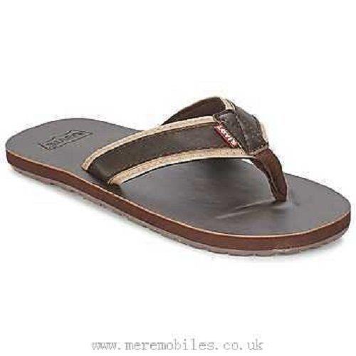 517fb8c31e3c New Levi s Mens Brown Faux Leather Jurupa Valley Casual Flip Flops Sandals  8-12  Levis  FlipFlops