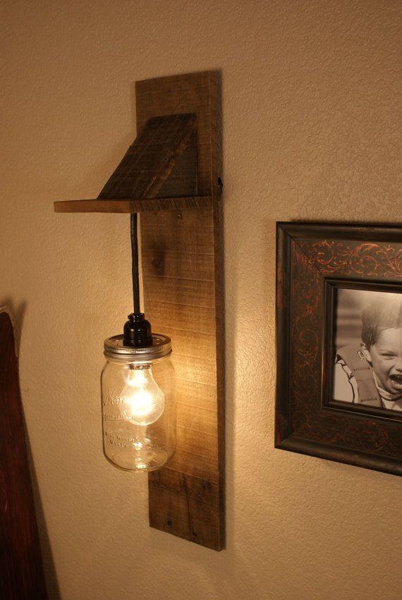 Mason jar lighting with reclaimed wood and 1 pendants r for Diy rustic pendant light