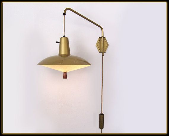 Wall Brackets For Hanging Lamps : Vtg. 60s Mid Century Modern Gold Brass Saucer Hanging Lamp Wall Mount Adjustable vintage lamp ...