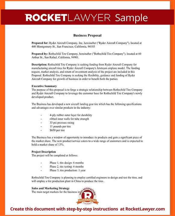 Business Proposal Letter Sample Doc Form Planware Plan