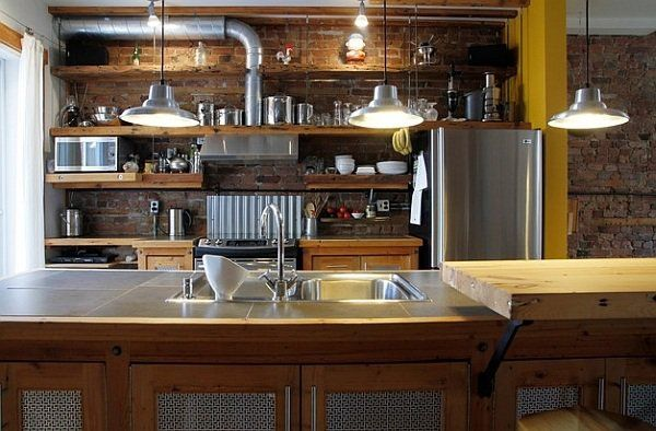 Brick Wall Steel Surfaces Pipes Open Shelves Industrial Kitchen Entrancing Kitchen Interior Designing Decorating Inspiration