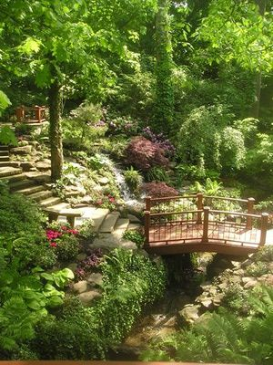 Wooden Bridge in the Cleveland Botanical Gardens.