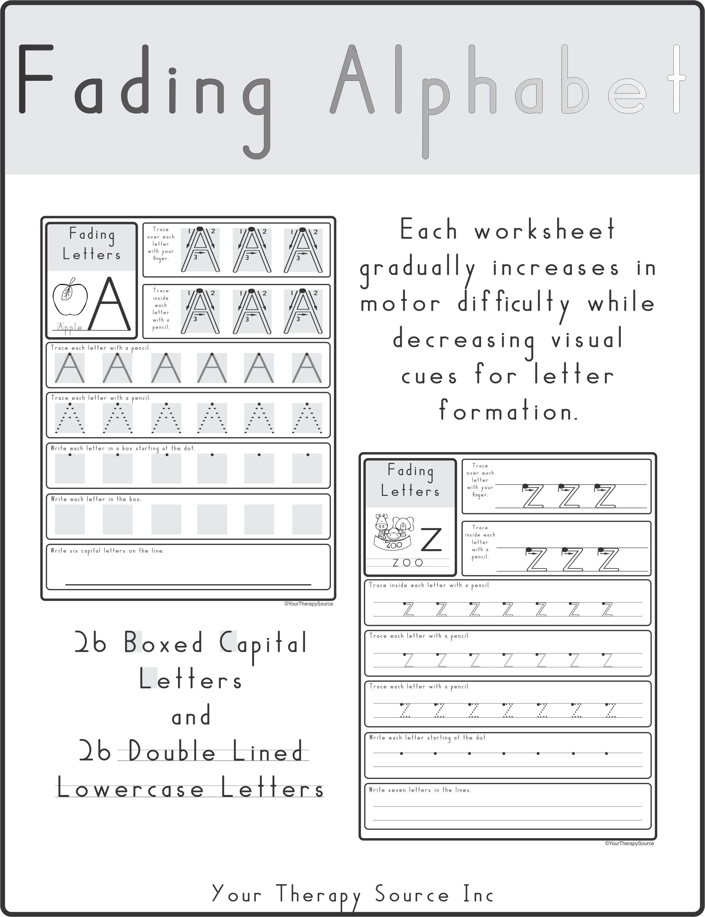 worksheet Visual Motor Worksheets fading alphabet double line or dotted style your therapy includes worksheets that gradually increase in visual motor difficulty while decreasing input for letter for