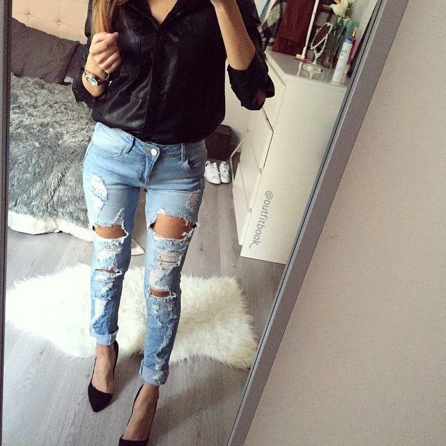 Look du jour total www.outfitbook.fr ❤  ♠   Nouveauté chemise et top effet cache cœur Padgram