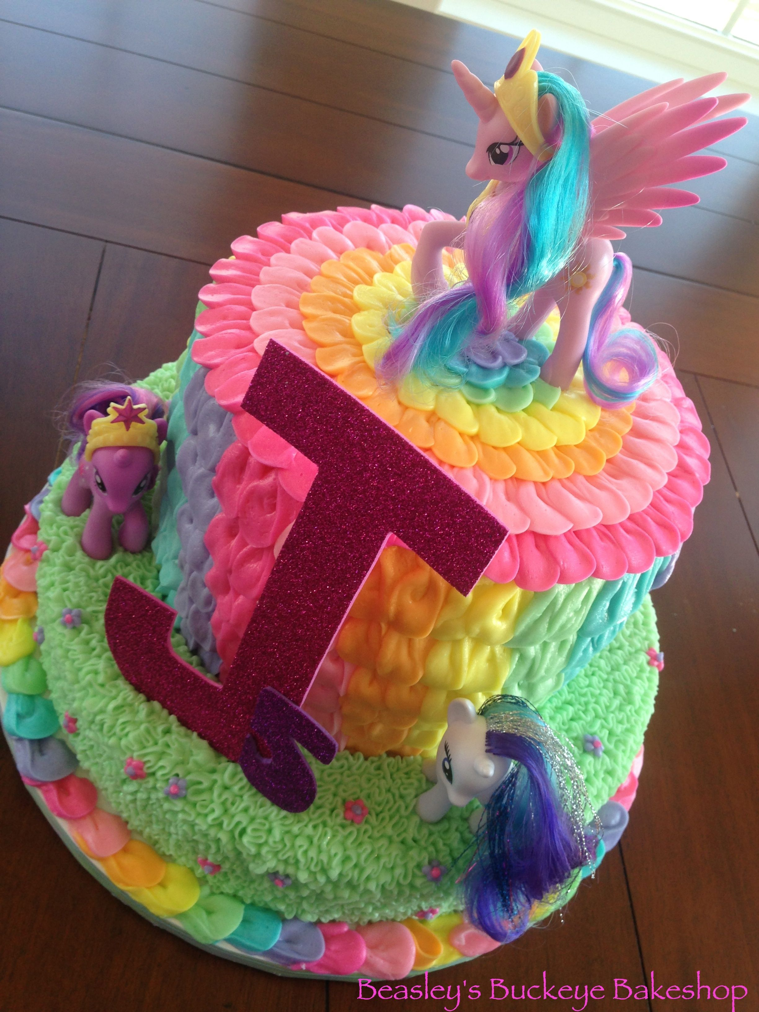 My little pony rainbow cake rainbow petal buttercream for Rainbow petals
