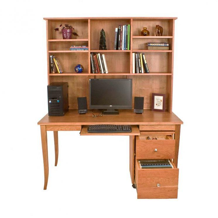 Wooden Flare Leg Writing Desk Bookcase In Natural Solid Cherry Maple Walnut Or Oak In 2020 Solid Wood Writing Desk Solid Wood Desk Wood Writing Desk