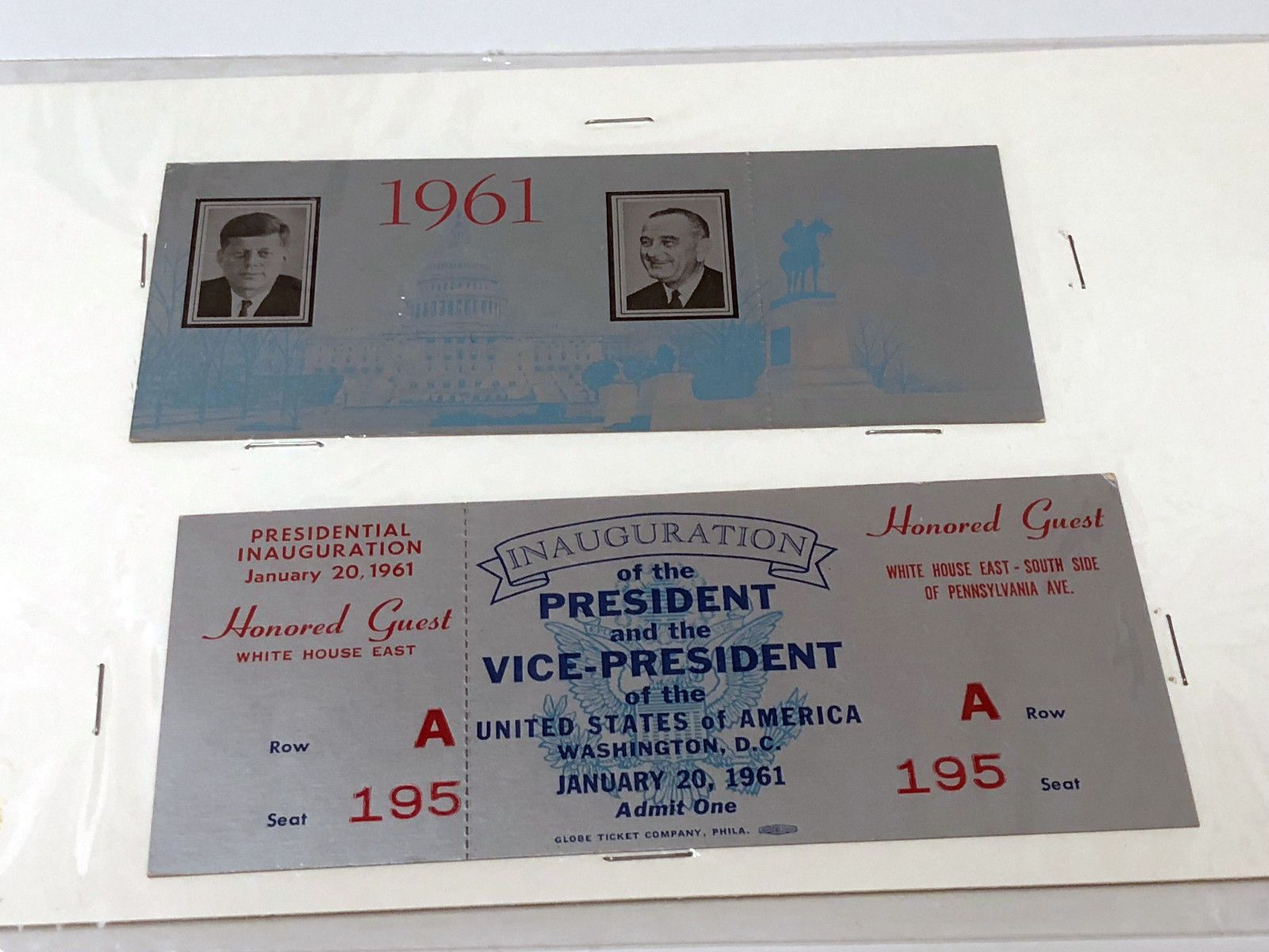 1961 Inauguration Guest Ticket | Honored guests
