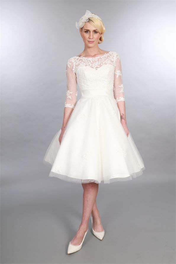 Georgia Tea Length Vintage Style Lace Wedding Dress With Sleeves
