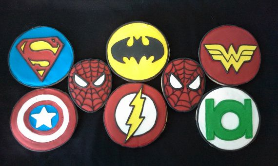 6 Hand Decorated Superhero Cookies by LochelsBakeryLLC on Etsy