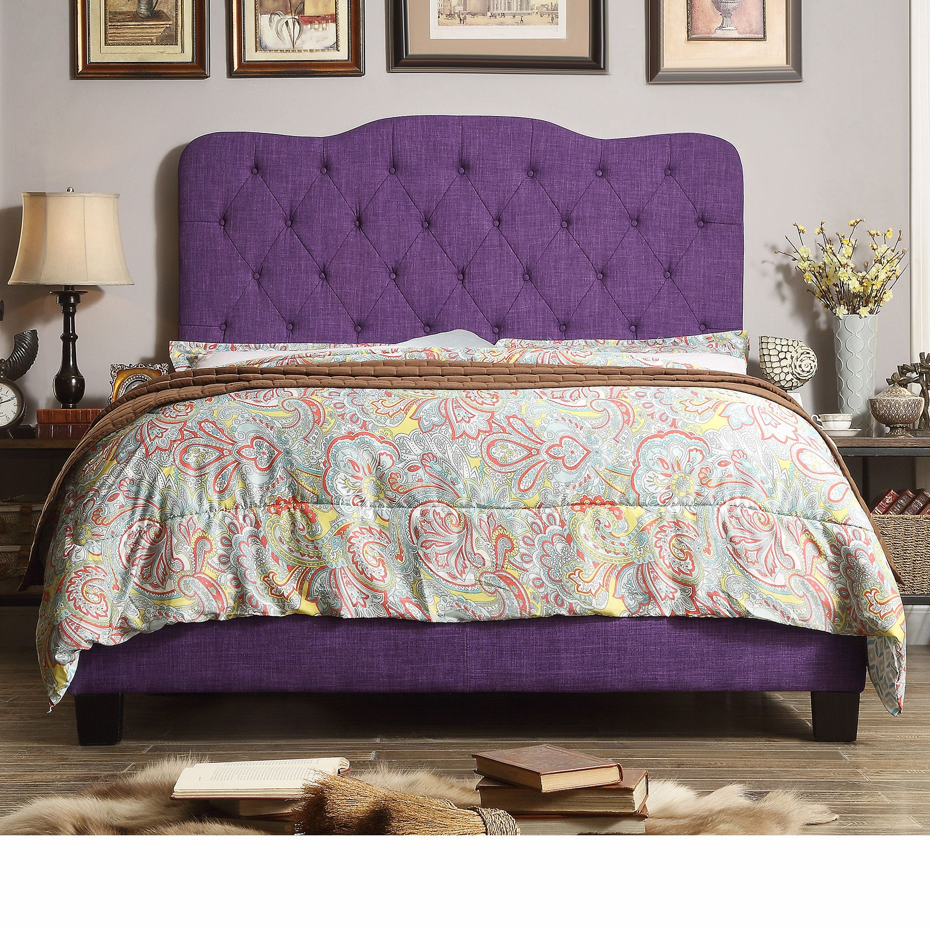 purple upholstered bed All Modern Upholstery bed