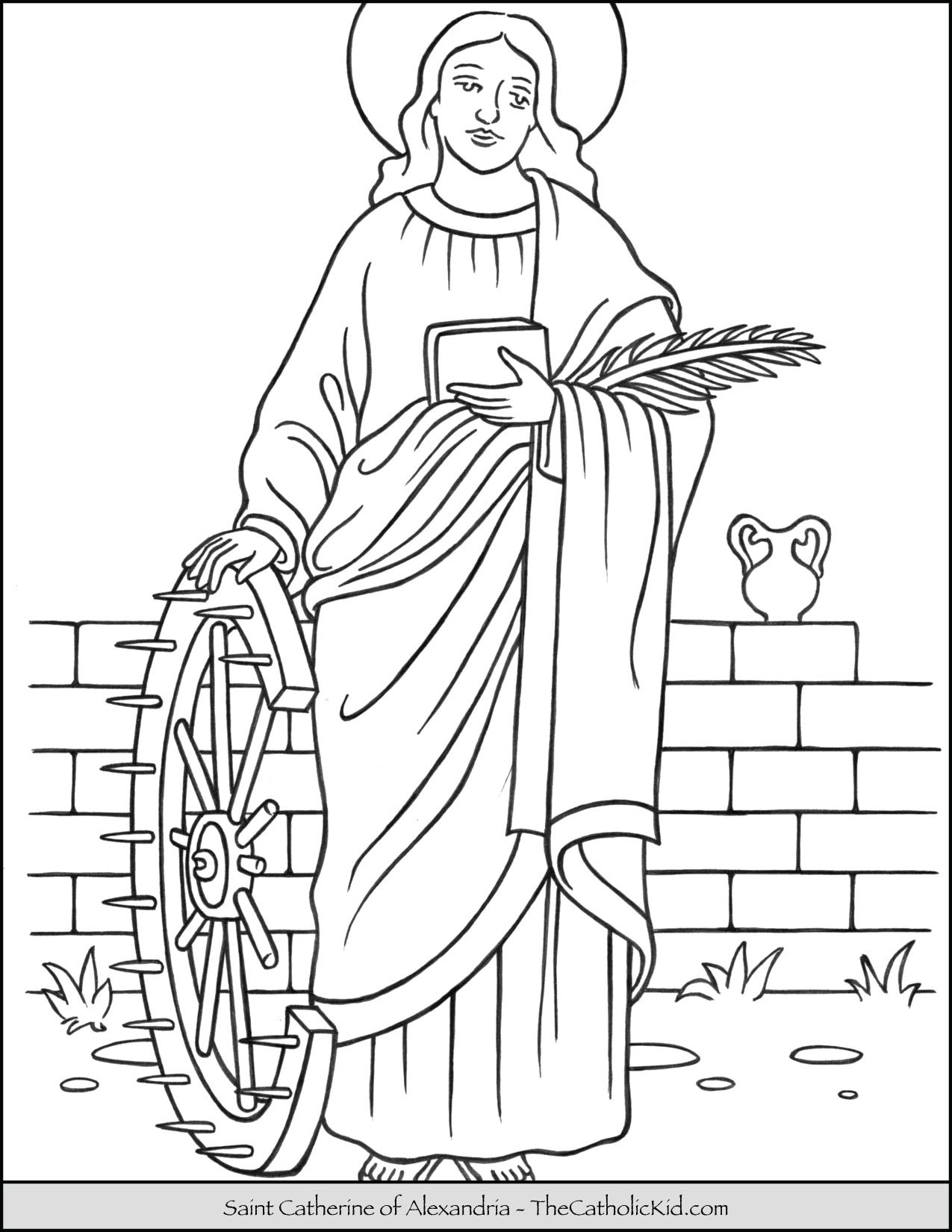 Saint Catherine Of Alexandria Coloring Page Thecatholickid Com