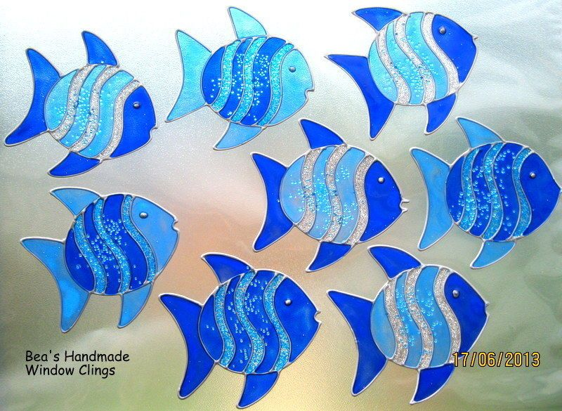 Bea's glitter fish window clings mirror bathroom tile