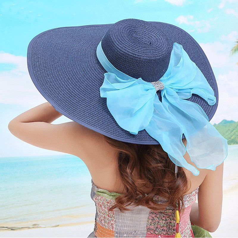 2017 Straw Hats For Women s Female Summer Ladies Wide Brim Beach Hats Sexy  Chapeau Large Floppy Sun Caps New Brand Spring Praia-in Sun Hats from  Women s ... 151274dc90be